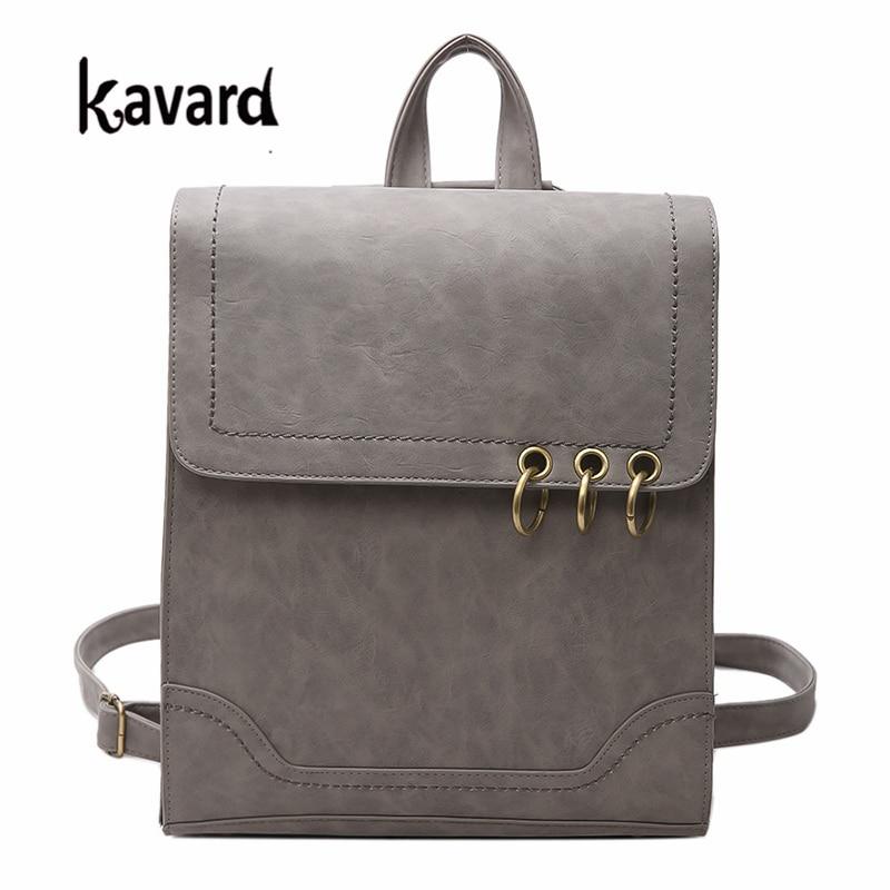 Kavard Backpack Women PU Leather Backpack Travel Backpack 2017 Bag For School For Girls Vintage School