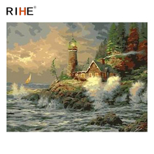 RIHE Seaside House DIY Painting By Numbers Kit, Framed Paint By Numbers on Canvas, Modern Wall Art Picture,Acrylic Paint 40x50CM rihe exquisite rose flowers framed oil painting by numbers coloring by numbers modern wall art picture home decoration 40x50cm