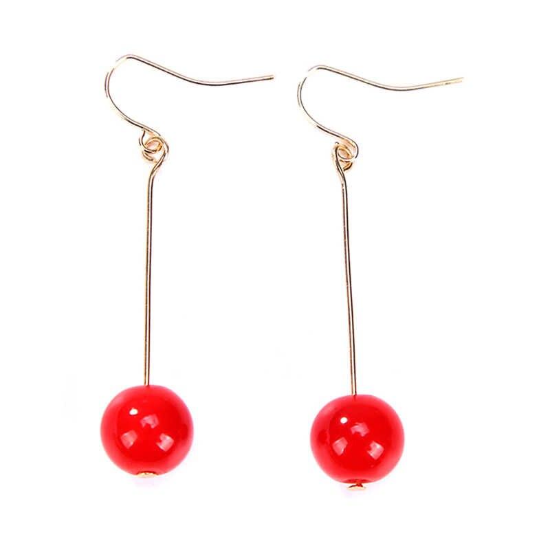 KARASU Classic Long Dangle Earrings For Women Girls Gift Jewelry Round Red Stone Beads Ear Drop Earrings Party Jewelry