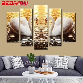 REDIY LADIY Diamond Embroidery 5 Panels Wall Art Swan Love Full Diamond Painting Triptych Mosaic Modular Picture Home Decor Gift
