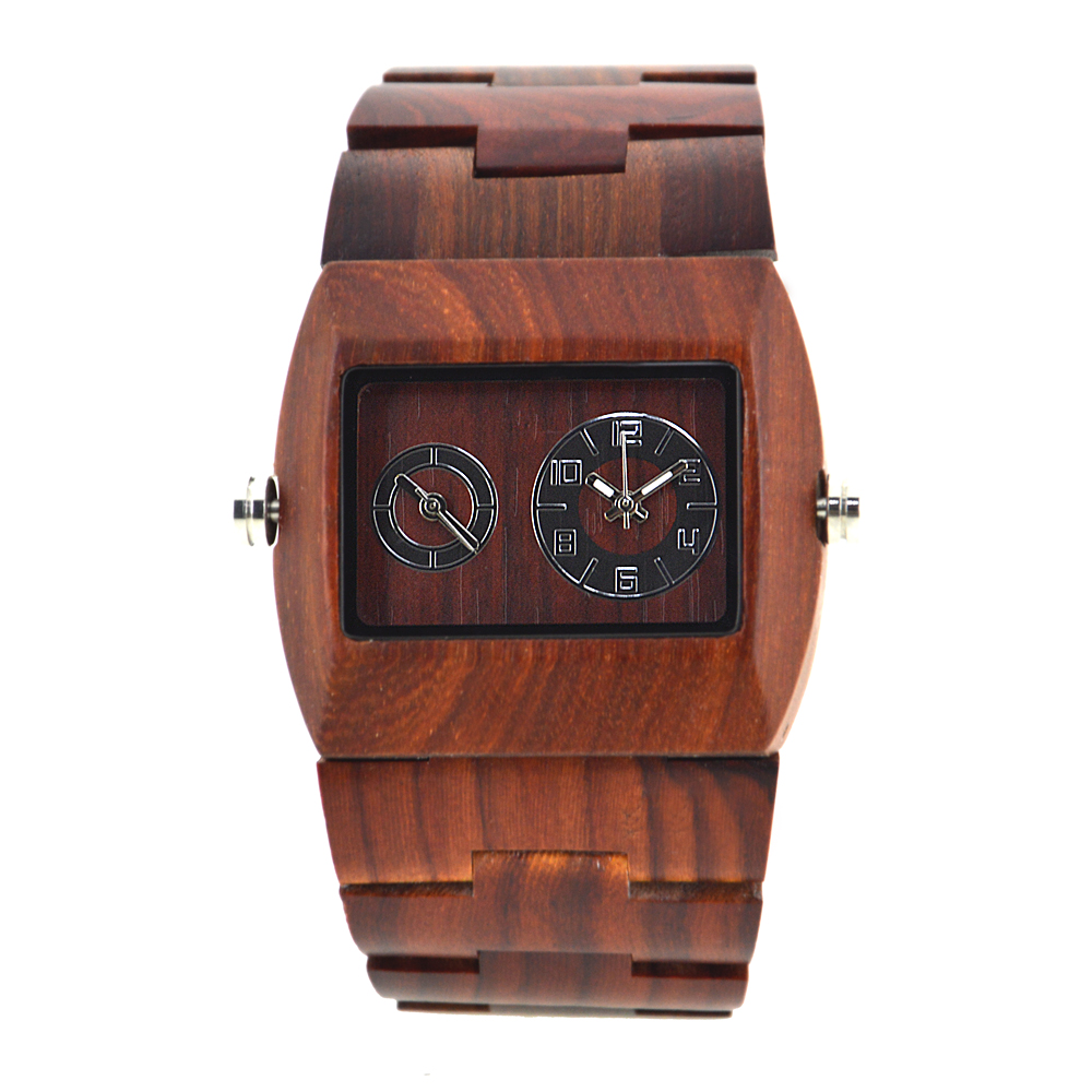 Men Watches 2018 Luxury Brand Wood Watch Double Time Display Quartz Wooden Watch For Business Man Sandalwood Watches Box 021C bewell mens dual time zone watches men sport watches man wood rectangle case wooden quartz watch with paper box 021c