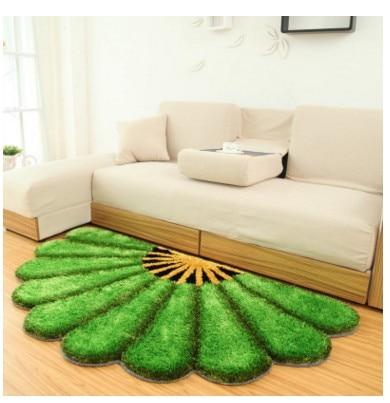 80X150 см утолщенные секторные ковры для спальни, современные 3D коврики с изображением цветов и ковров, диван-пол, детский игровой коврик, половик с цветочным рисунком - Цвет: Зеленый