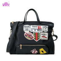 TZY New Canvas Shoulder Bag Women Street Beat Badge Handbag Ladies Large Capacity Casual Tote Handbag