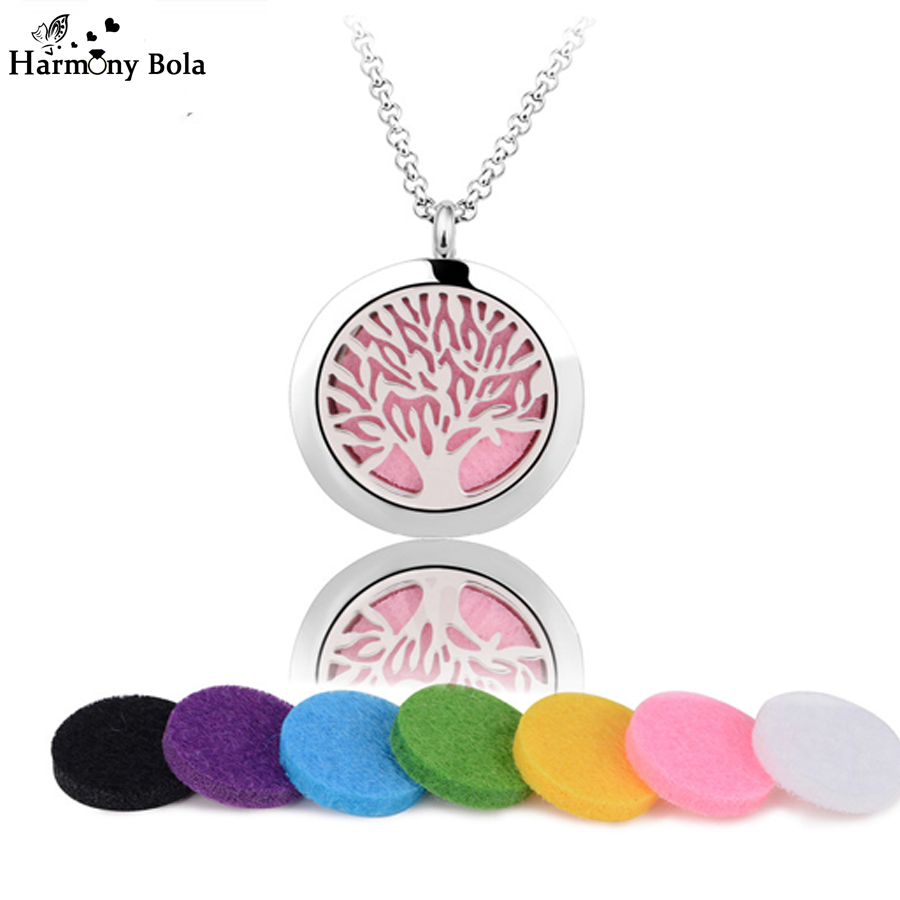 Famliy Tree Stainless Steel Perfume Lockets 25mm Essential Oil Diffuser Aromatherapy Locket Pendant Necklace with Chain Felt Pad