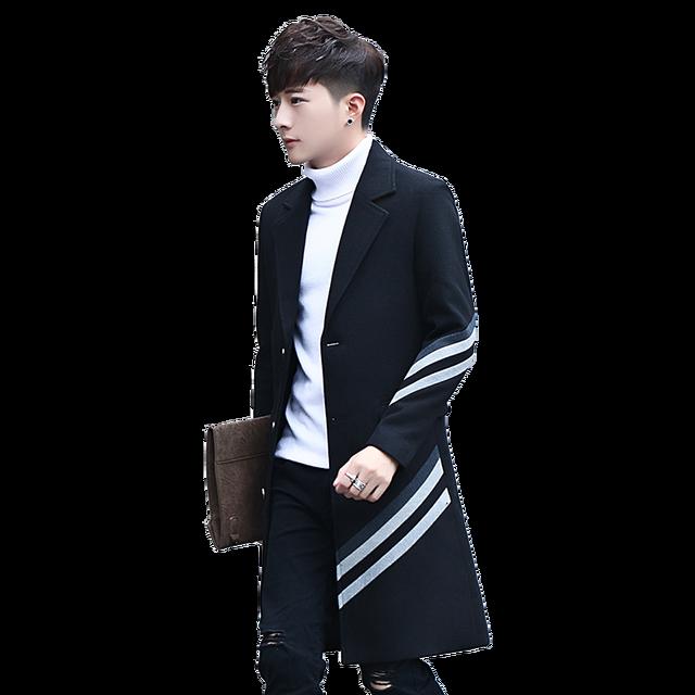 db9d877d8e 2017 New Men s Stripes Long Coats   Jackets Fashion Business Casual Men  Trench Hot Sales Slim