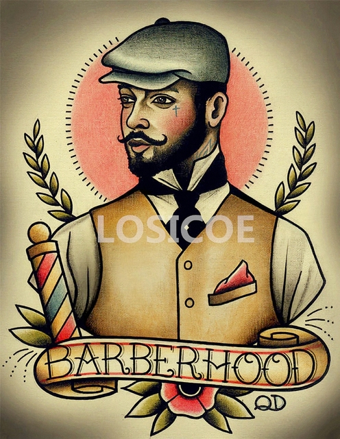 Vintage Hairdresser Tattoos Patterned Posters Kraft paper Interior ...