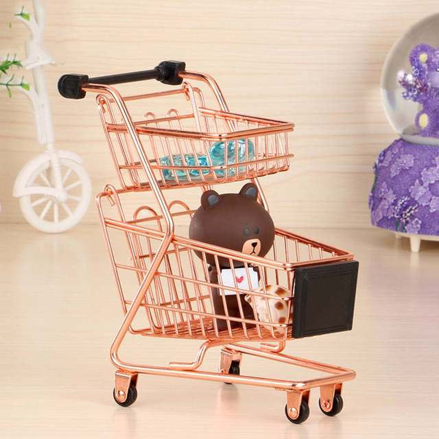 57187ff91 Creative Mini Double Layers Shopping Cart Model Wrought Iron Supermarket  Trolley Vogue Metal Rose Gold Storage Basket-in Storage Baskets from Home &  Garden ...