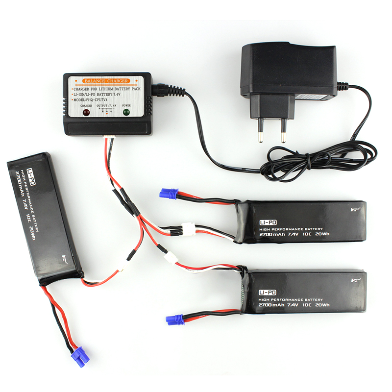 3x7.4V 2700mAh 10C Battery 1 To 3 Charging Cable w/ Charger For Hubsan H501S X4 RC Quadcopter Spare Parts Accessories lipo battery 7 4v 2700mah 10c 5pcs batteies with cable for charger hubsan h501s h501c x4 rc quadcopter airplane drone spare