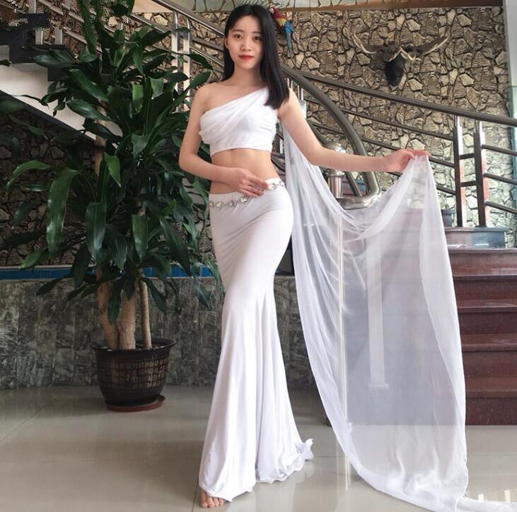New Arrival Korea Design 2 Piece Women Oriental Dance Costume With Wings Sleeve Fairy Bellydance Modal