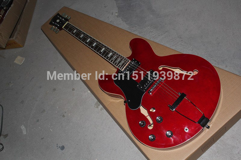 Top Quality New Style G LP custom Semi-hollow Left handed ES 335 ES335 red jazz electric guitar es 335 50th anniversary 1963 jazz es 335 semi hollow body electric guitar 5a quilt maple top gold hardware