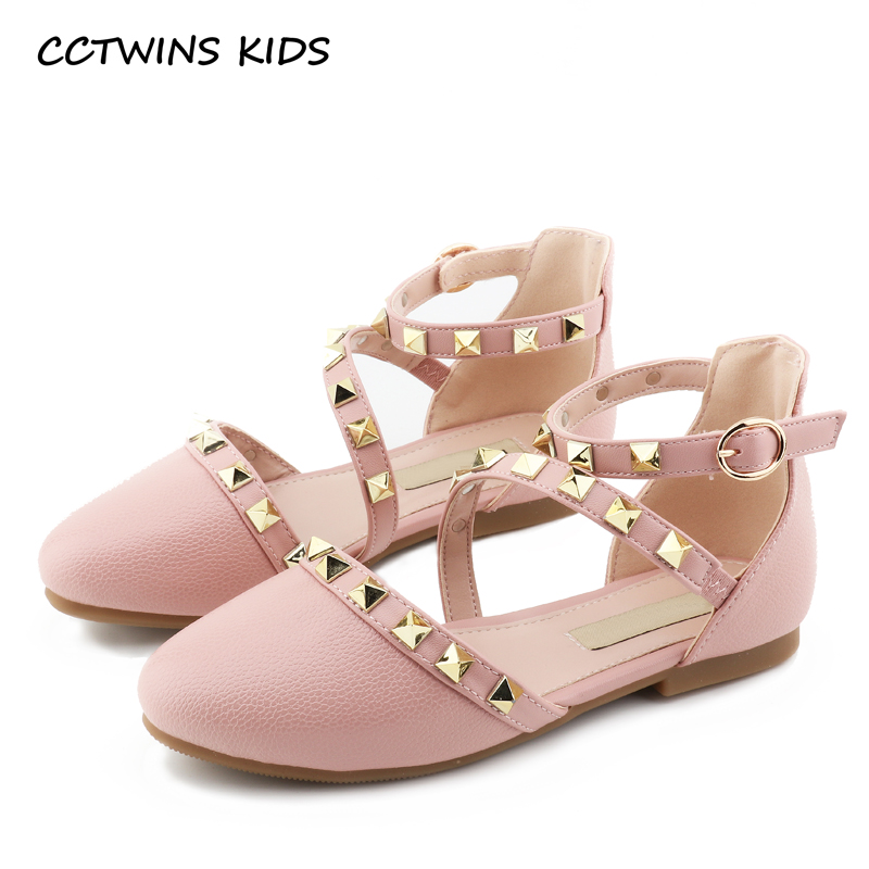 CCTWINS KIDS 2018 Spring Girl Fashion Stud Party Shoe Children Black Pu Leather Flat Baby Princess Dance Mary Jane GM1949 wendywu new kids leather shoes baby girls fashion dress mary jane for children pu leahter court shoe kid brand dance heel shoe