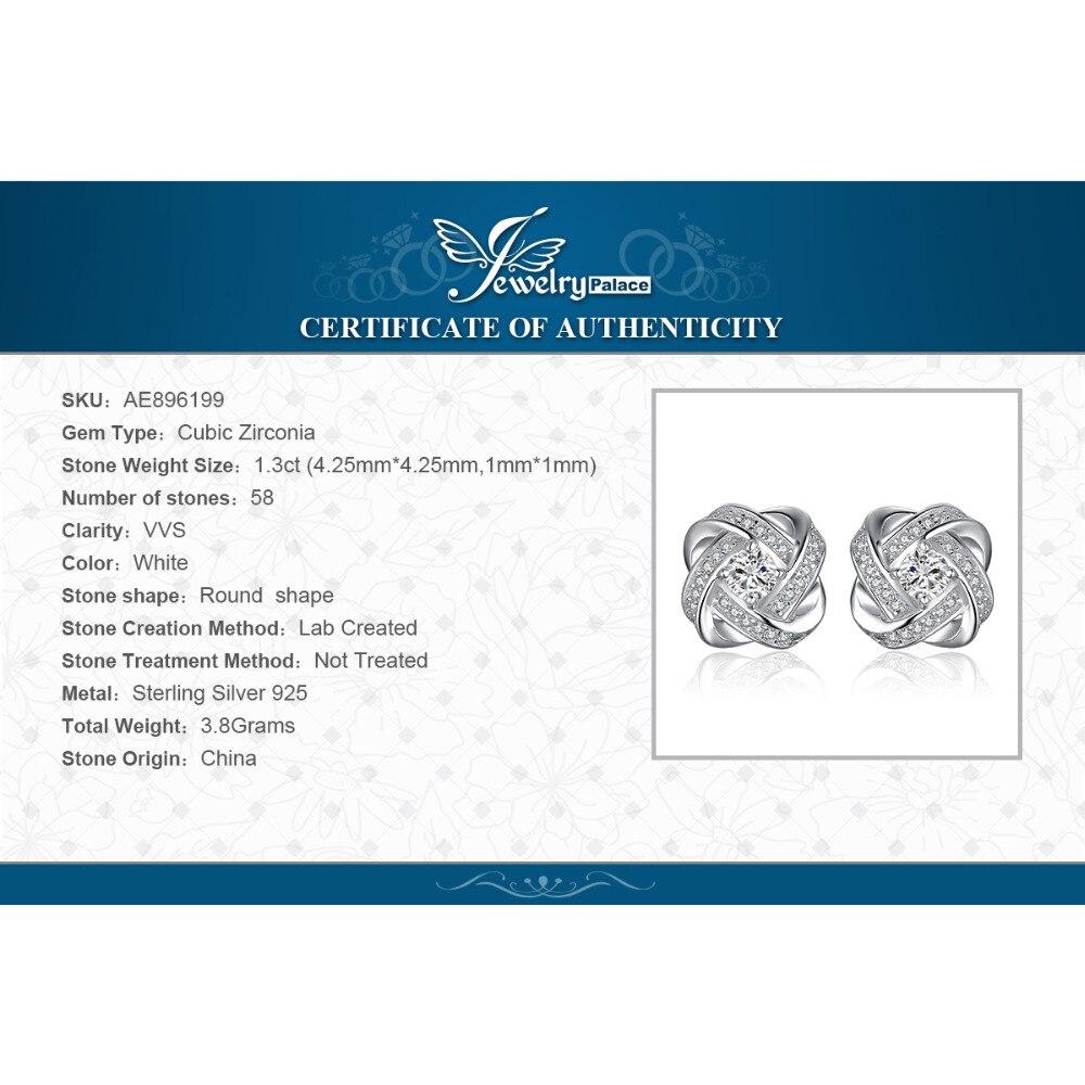 Image 5 - Jewelrypalace 愛ノット cz スタッドピアス 925 スターリングシルバーイヤリング女性女の子韓国のイヤリングファッションジュエリー 2020イヤリング   -