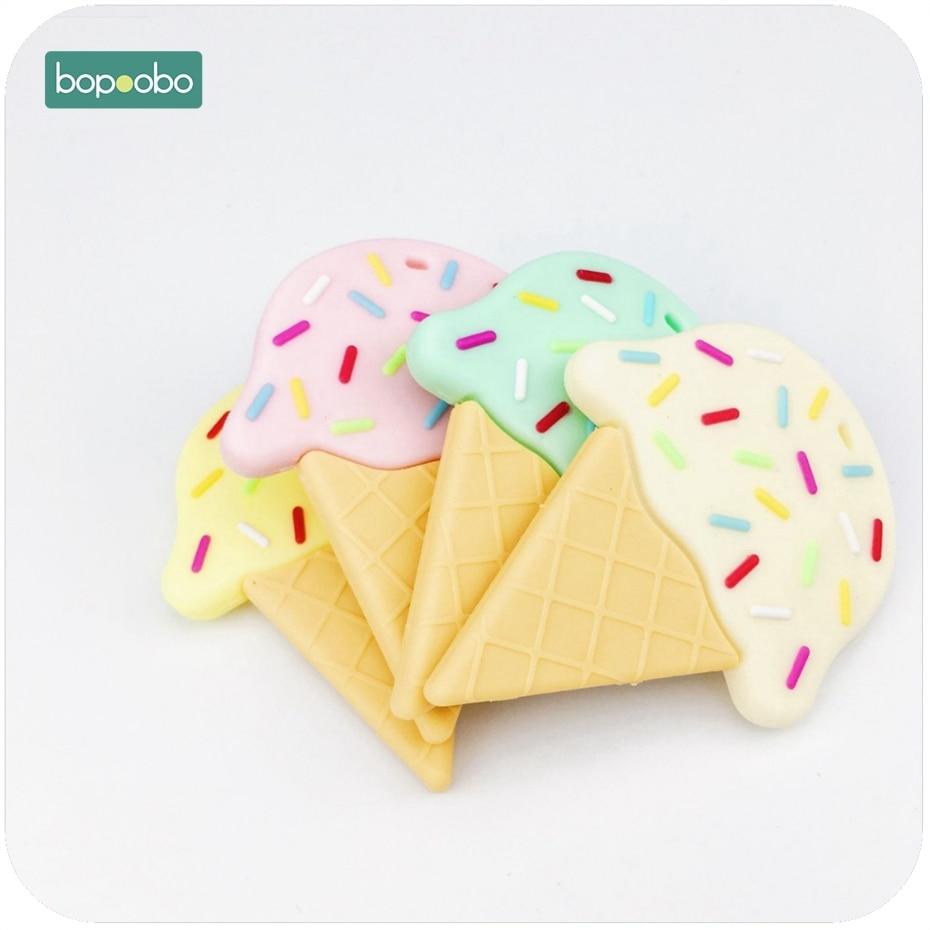 Bopoobo Silicone Ice Cream Teether 1pc Nursing Accessory DIY Teething Necklace Food Grade Silicone Pendants Baby Teether