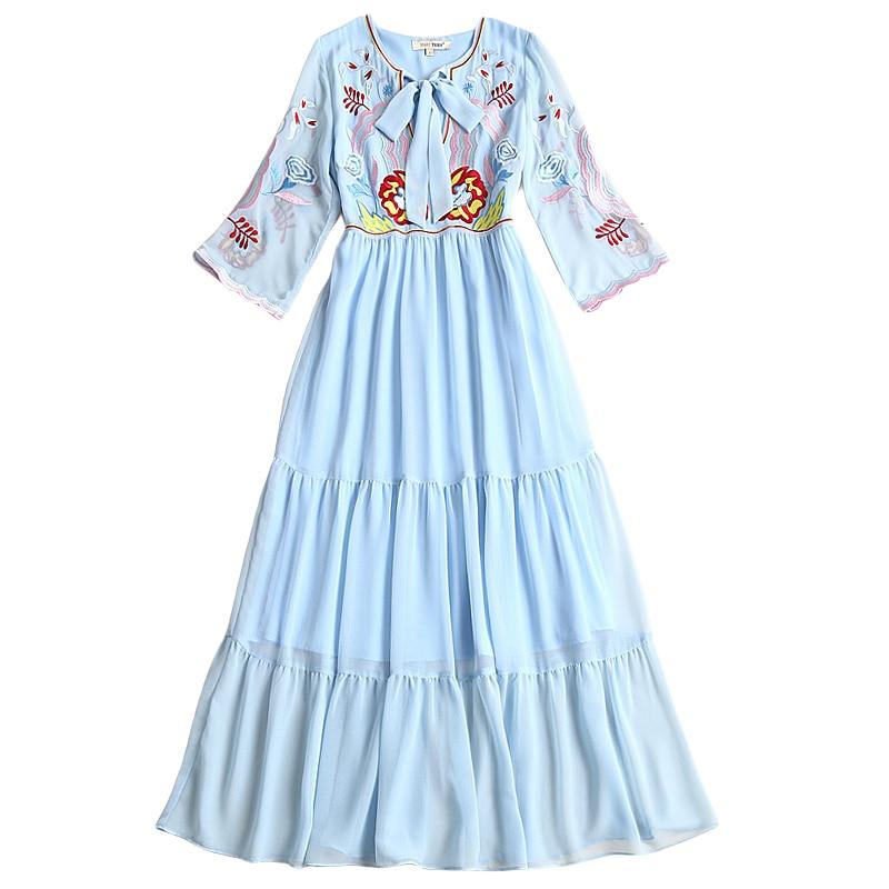 Bordado Mujeres Beach Gasa 2018 Verano Partido Vintage Boho Dulce Moda Azul Largos Elegante De Vestido Alta Vestidos Cielo Calidad Nuevo IwqT0a77n