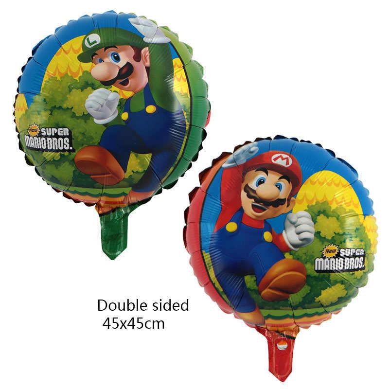 5 stks/set Super Mario 18 inch ster aluminium ballon kind verjaardag party decor levert helium ballon air ballons