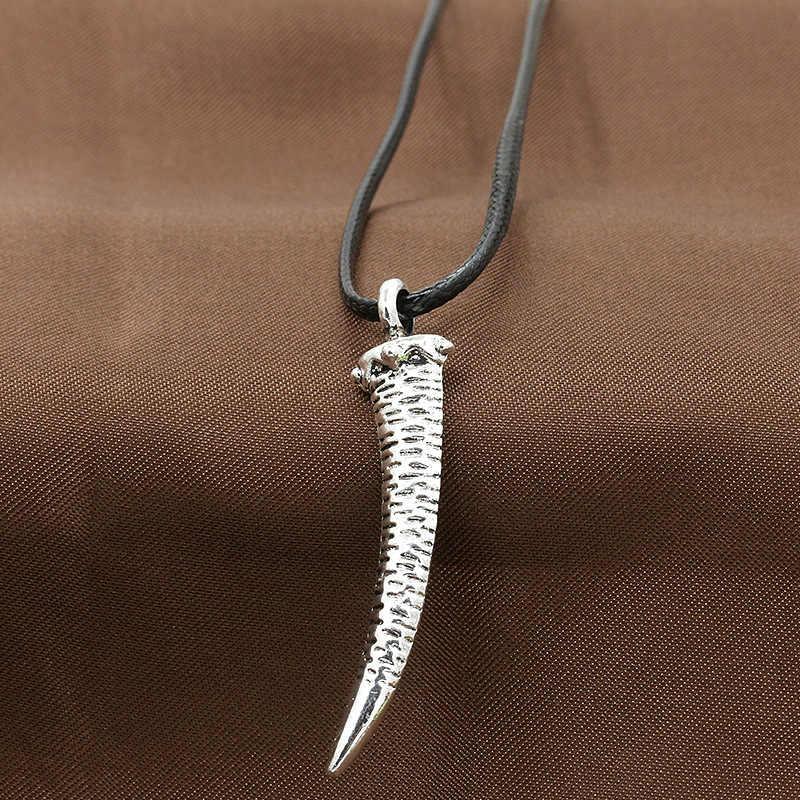 Antyczne srebro Tribal Stark wilk Fang zębów wisiorek naszyjnik w stylu Vintage wilk zębów tytanu kobiety mężczyźni wisiorek naszyjnik