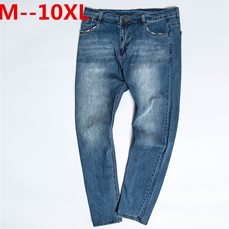 10XL 8XL 6XL 5XL Men's Jeans Classic Stretch Dark Blue Business Casual Pants Tapered Slim Fit Scratched Long Trousers Gentleman