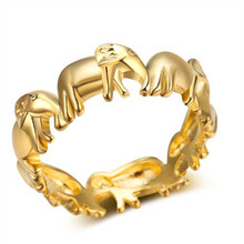New gold and silver cute animal elephant ladies ring Fashion trend feminine accessories jewelry Couple gift party everyday 2018