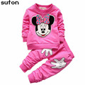 2017 Autumn Winter Warm Baby Girl/boy Clothing Set Cartoon Cotton Long-sleeved T-shirt+pant 2pcs Kids Sport Lovely Clothing Set