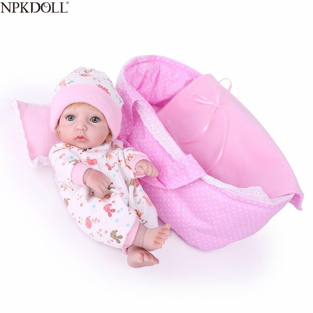 NPKDOLL 10 inch 25CM Full Silicone Reborn Baby Dolls Handmade Lifelike Newborn Doll Alive Realistic Kids Reborn Babies Child Toy