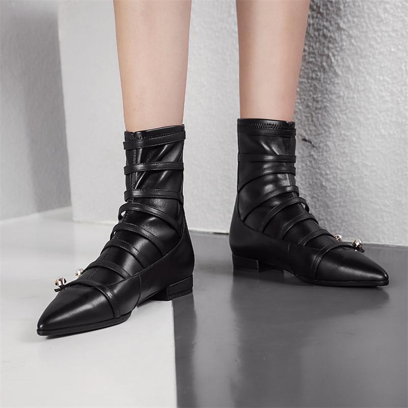 5068688ccf29a3 Talons Cheville Chaud Automne Cuir Chaussures Punk Mode Noir Véritable  Danse En Perle Partie Hiver Carré Bottes Femmes Femme Fedonas xEHSwPE