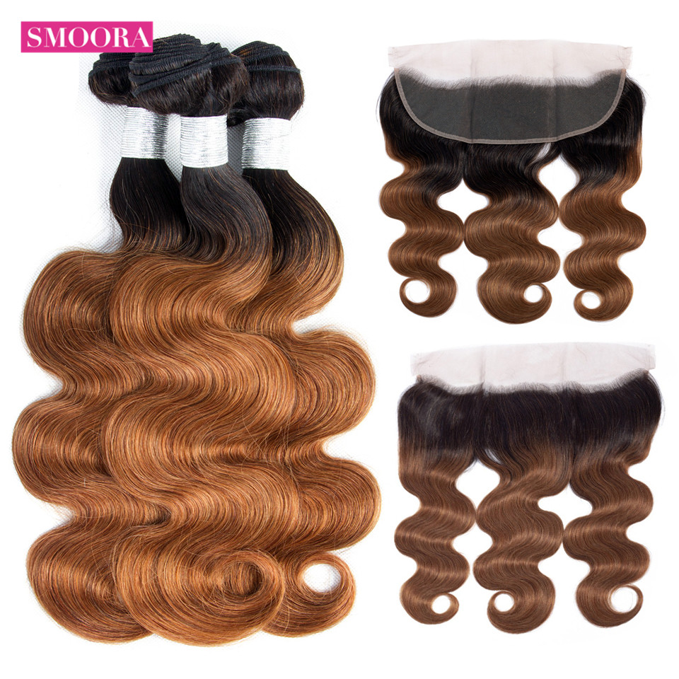 Body ombre brown hair bundle with frontal