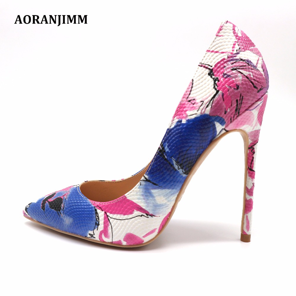 Free shipping free real pic blue follower printed pointed toe hot sale woman lady girl 120mm
