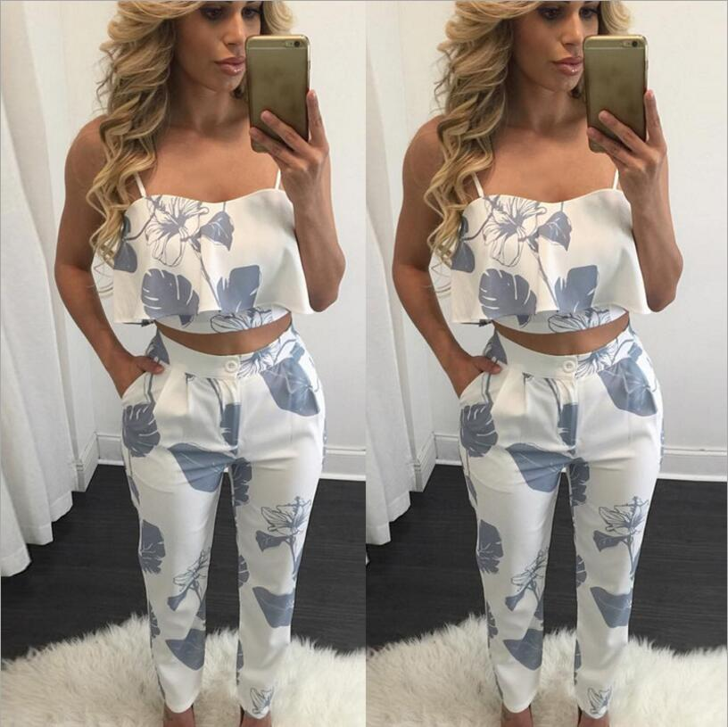 410ddb0797f4 Elegant Two Piece Rompers Womens Jumpsuit floral print ladies Jumpsuits  Overalls for women Night Club Wear combinaison femme-in Jumpsuits from  Women s ...