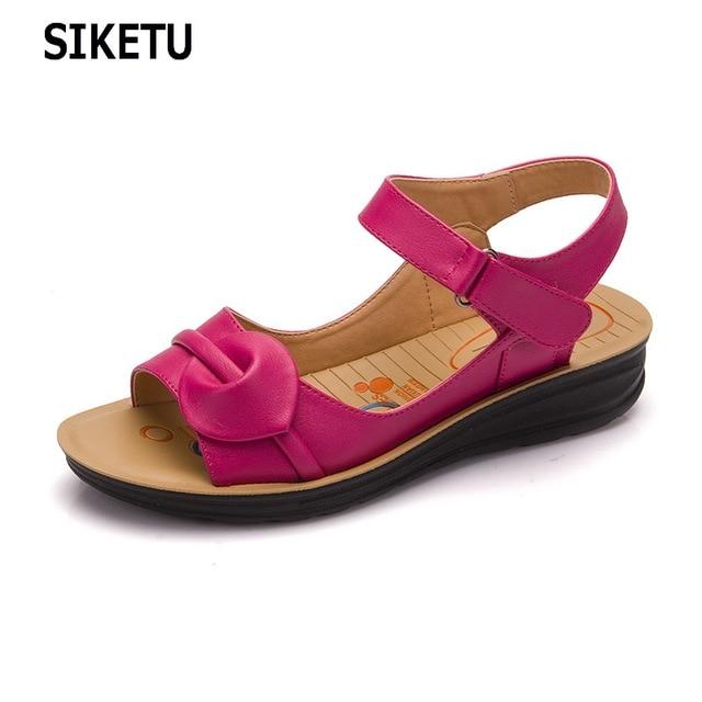 0abbd3bbf9d8a SIKETU Size Summer Women Genuine Leather Sandals Vintage Ladies Flat  Sandials Ankle Strap Fashion Casual Platforms Soft Shoes