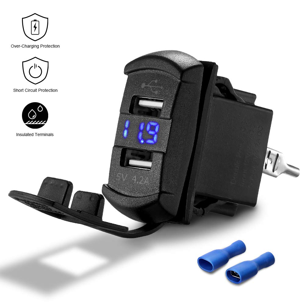 Wire Dual USB 4.2A Car Charger for Most Cell Phone Blue LED Digital Voltmeter