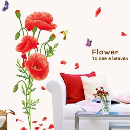 Hot Sale RED POPPY Wall Decals Home Decor Art Flower Vinyl Mural ...