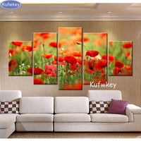 diy 5 pcs full diamond embroidery flower red poppy diamond painting cross stitch nature picture wall sticker christmas painting