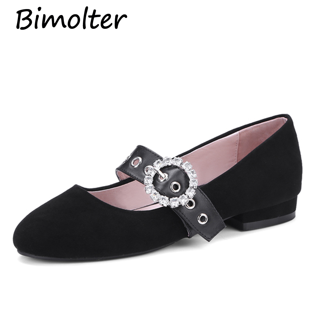 Bimolter Donna Toe Flats Sheep Suede Mary Janes Sweet Dance Ballet - Scarpe da donna