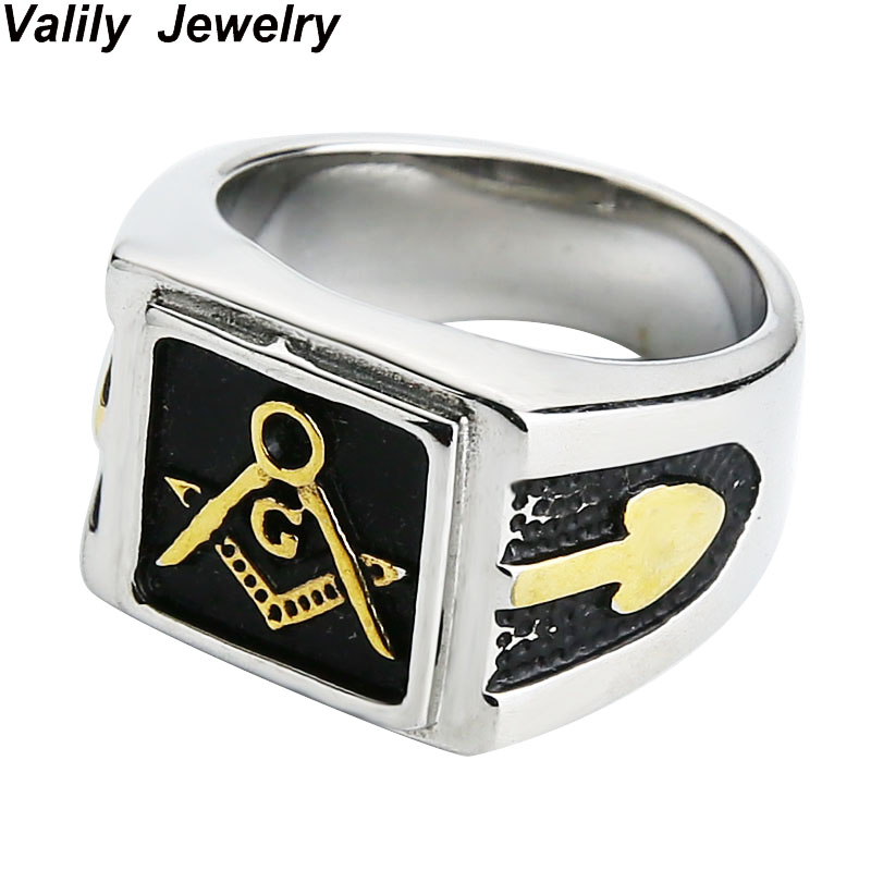 US $3 59 28% OFF|Men's black plated freemason ring,stainless steel fashion  masonic finger brand signet ring for women, ring jewelry,US size-in Rings