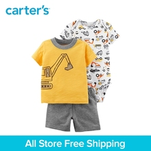 3pcs clothing sets truck print tee bodysuits French terry shorts Carter's baby boy soft cotton Spring Summer 121I399