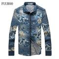 Men Denim Floral Dress Shirt 2016 Fashion Plus Size 5XL Shirts Men Spring Autumn Long Sleeve Slim Fit Camisetas Masculinas W1043