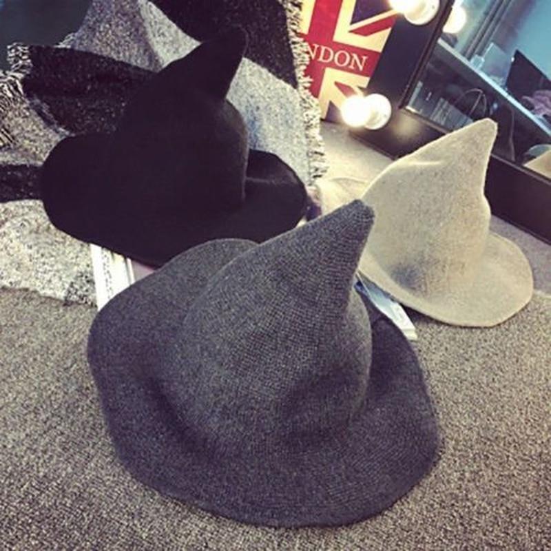 1 pieza moderno gorro de bruja Halloween lana mujer señora hecho de lana de oveja de moda sombrero para fiesta de Halloween festival sombrero para fiesta