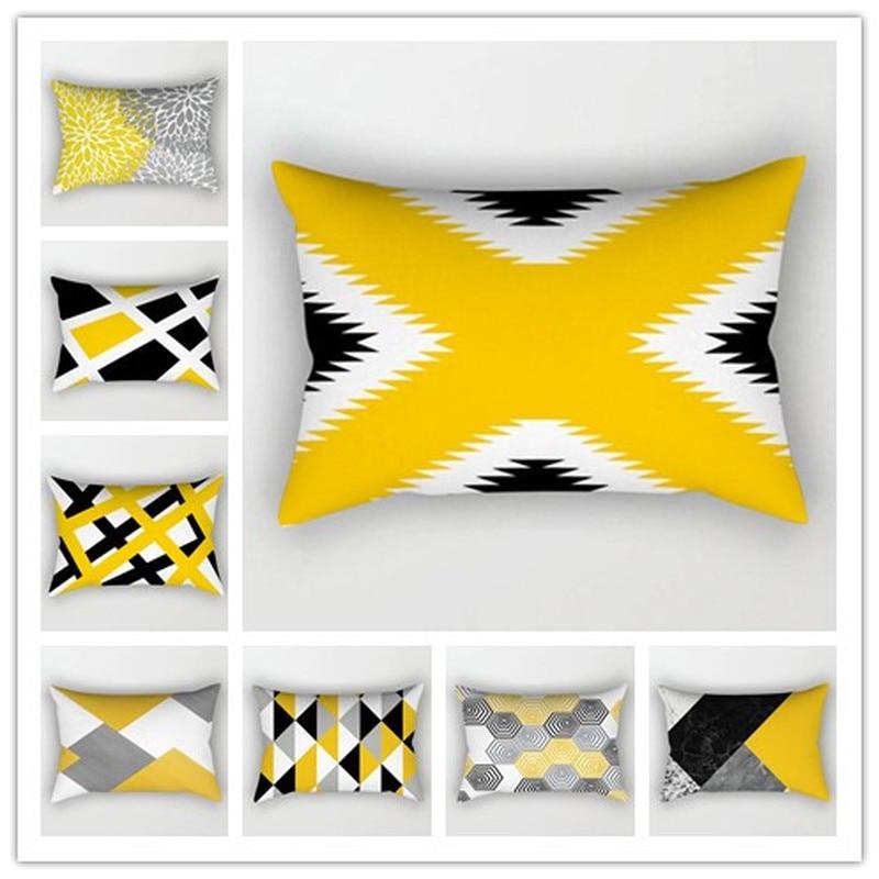 Yellow Geometric Polyester Printing Pillow Cover Rectangular 50x30cm Simple Abstract Sofa Pillowcase Lumbar Pillow Cushion Cover