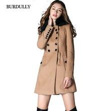 BURDULLY Autumn  Winter Warm Fox Fur Collar Cashmere Coat Female Women Long Woolen Coat Lapel Abrigos Mujer invierno lana 2016
