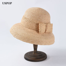 USPOP 2019 New Women Sun hats fashion bow straw natural raffia sun vintage drooping wide brim beach hat