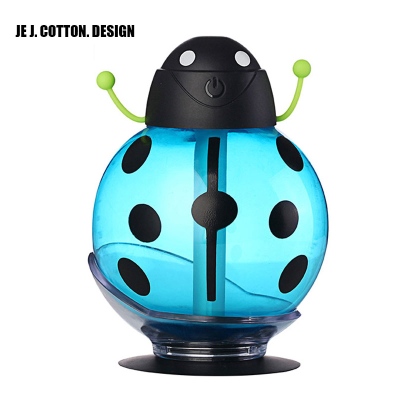 260ML Ladybug Air Humidifier with LED Light USB Humidificador Air Freshener Aroma Diffuser Mist Maker Christmas New Year Gifts new led usb humidifier mini aroma diffuser air humidifiers with aroma lamp aromatherapy diffuser mist maker with led light 220ml