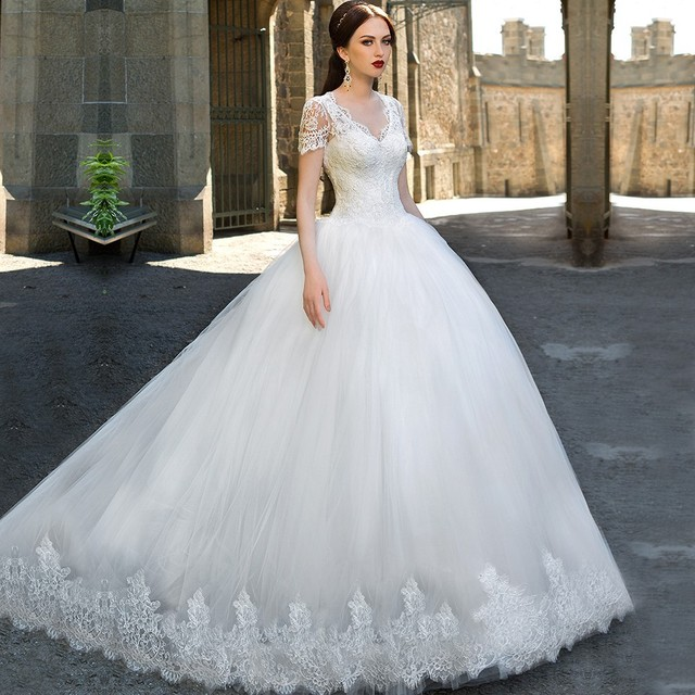 New Arrival Ball Gown Wedding Dresses Appliqued V Neck Short Sleeves ...