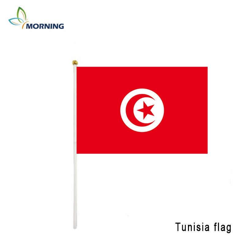 MANHÃ personalizado pequena mão agitar bandeira Tunísia 14*21cm de apertar a mão