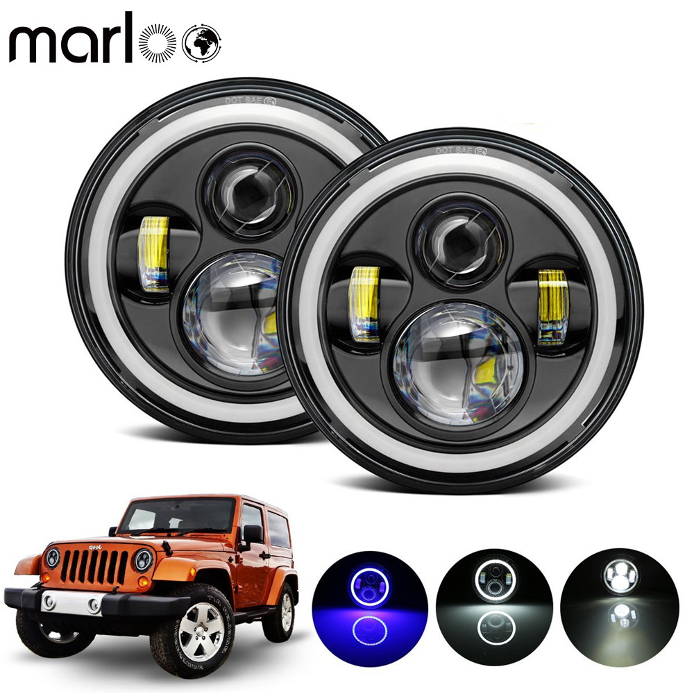 Marloo 7 Daymaker Projector Headlight For Jeep Wrangler Hummer Land Rover Defender White - Blue Angle Eyes Halo Ring Headlamp
