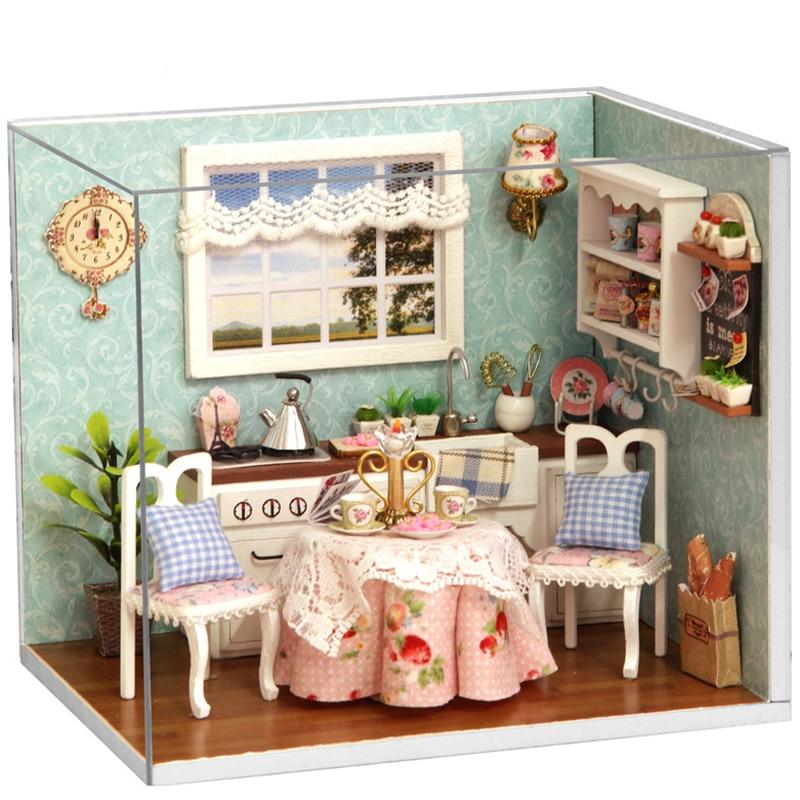 Kids-ChristmasBirthday-Gift-DIY-Wooden-Doll-House-Toys-Dollhouse-Miniature-Box-Kit-Handcraft-Dollhouse-Kitchen-Model-T30-1