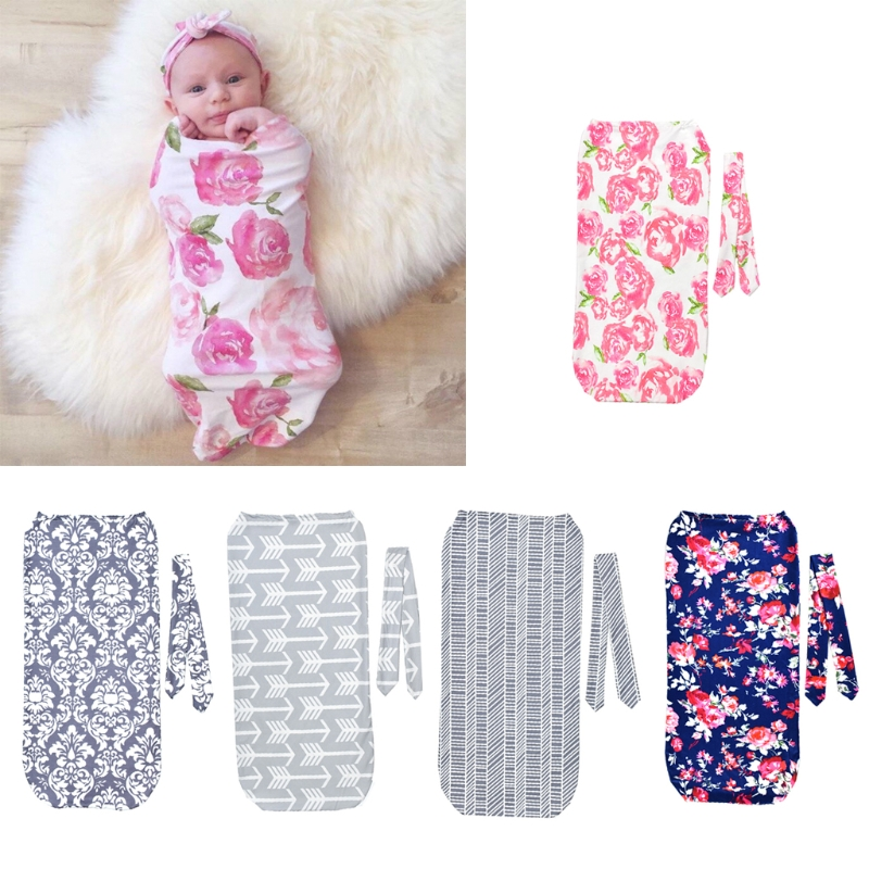 2Pcs/Set Fashion Newborn Swaddle Blanket Baby Cocoon Sleeping Bag Muslin Wrap Headband Photo Props-M35