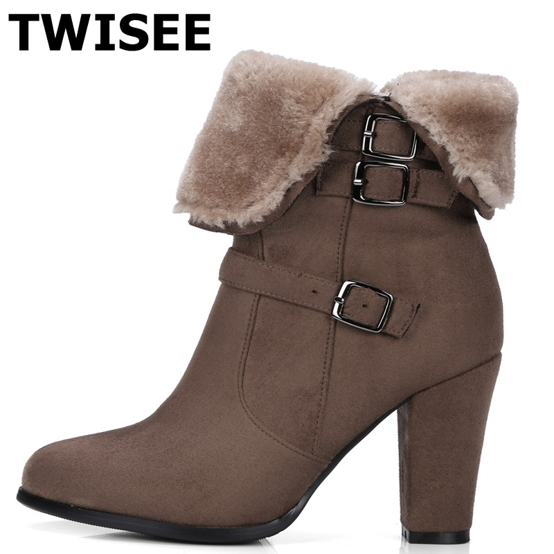 TWISEE pu Leather Shoes Women Mid-Calf Boots Autumn High Heel Martin Boots Zip Winter Spike Heels Shoes Women Boot Spike Heels стоимость