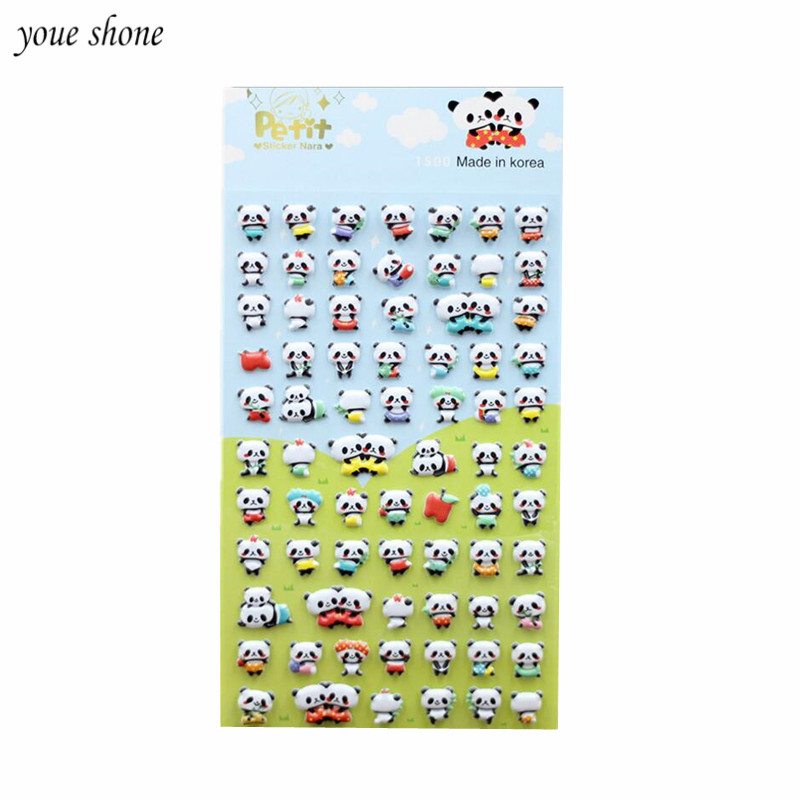 1PCS Cute 3D Kawaii Panda Animal Stationery Stickers Bubble Stickers Diary Decorative Sticker Lovely Learn Supplies Gifts image