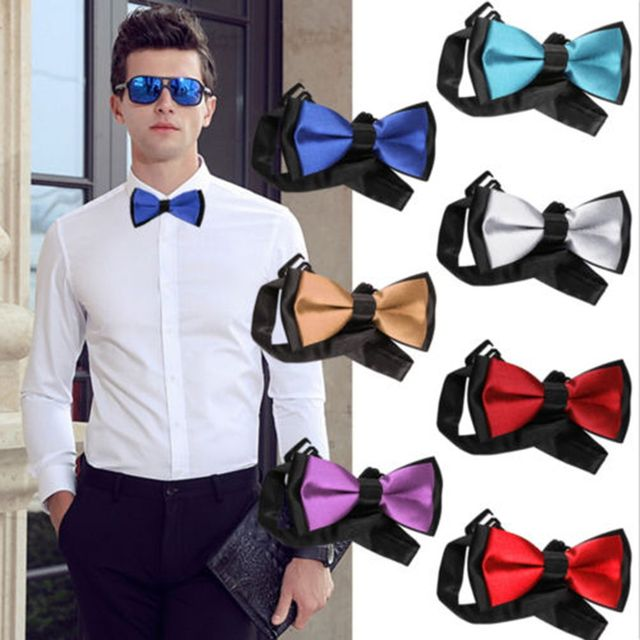 0bca8aebff79 Fashion Men's Bow Tie Wedding Party Pre-Tied Adjustable Satin Dickie Bow  Neck Tie New
