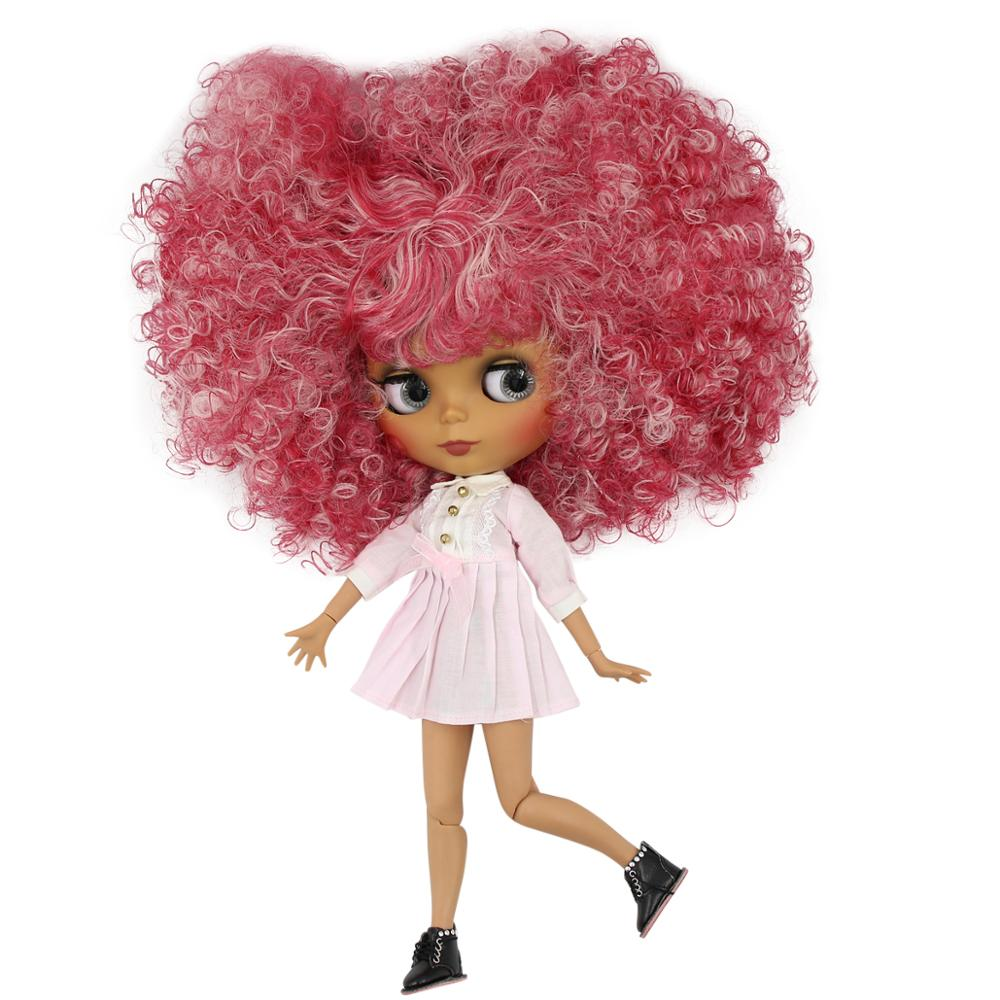 Red Mix Pink Hair Bl2352/qe155 30cm Toys & Hobbies Brilliant Icy Factory Blyth Doll 1/6 Bjd Joint Body Dark Skin Matte Face Dolls
